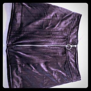 Purple velvet mini skirt with ring zip NWT